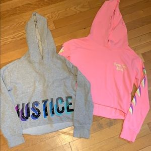 2 girls Justice crop hoodies size 12 Like new